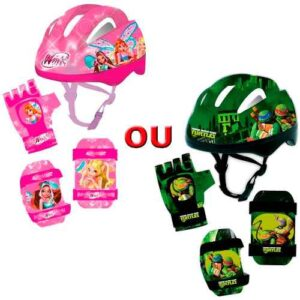 Kit Capacete e joelheiras infantil Atrio